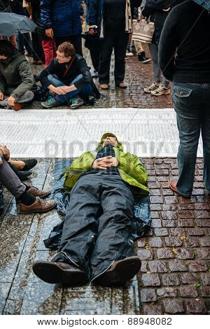Die-in Protest Against Immigration Policy And Border Management