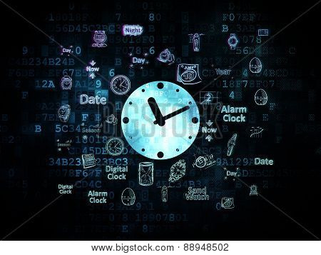 Time concept: Clock on Digital background