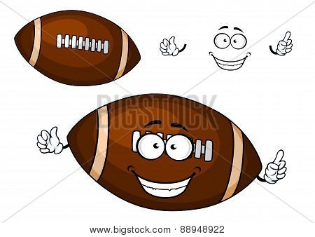 Cartoon brown rugby ball mascot character