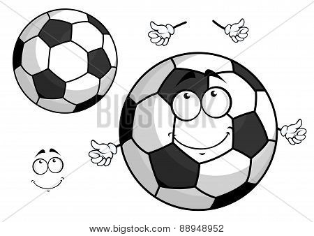 Cartoon football or soccer ball mascot