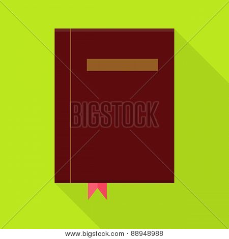 Flat Book With Bookmark And Long Shadow
