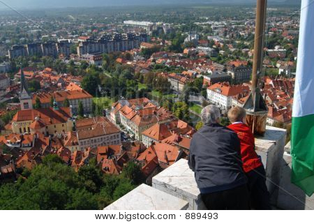 poster of Old Couple Looking Down On A City