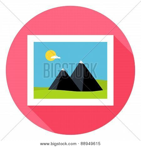 Flat Landscape Picture Circle Icon With Long Shadow