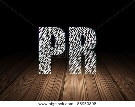Advertising concept: PR in grunge dark room