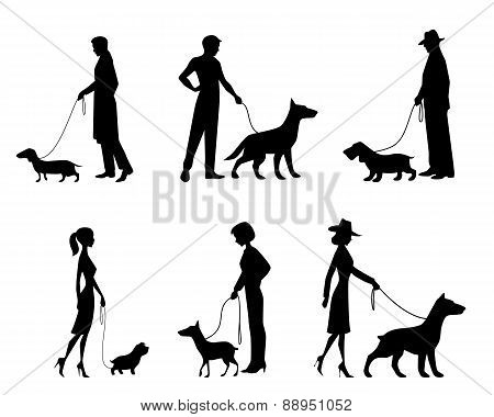 People Silhouettes With Dogs