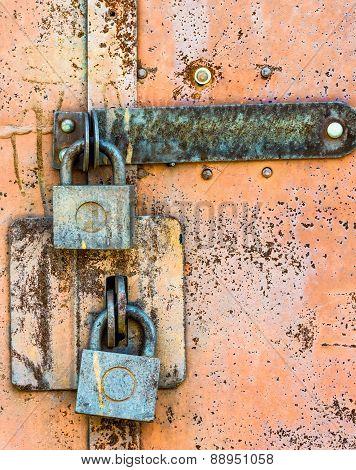 Closed Lock On The Door Rusty