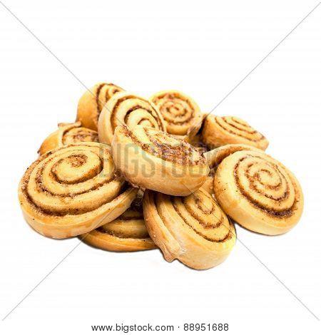 Sweet Tasty Cinnamon Rolls Isolated On White Background