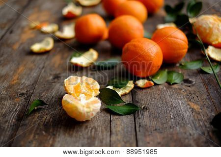 Fresh Orange Fruit On Wooden Background