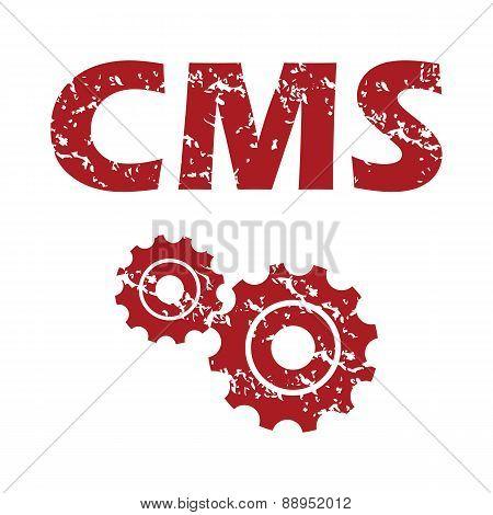 Red grunge cms logo