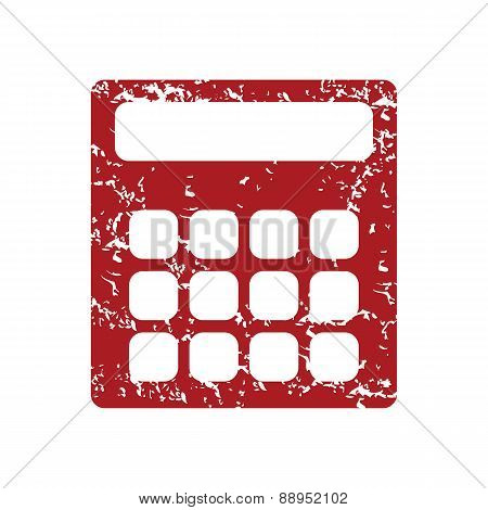 Red grunge calculator logo