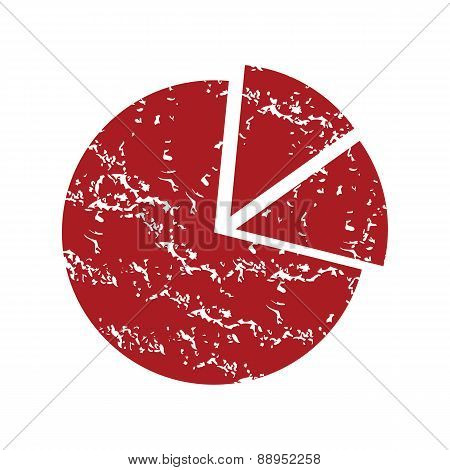 Red grunge pie chart logo