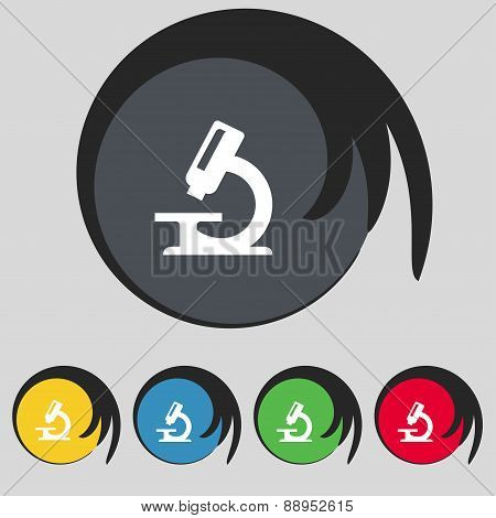 Microscope Icon Sign. Symbol On Five Colored Buttons. Vector