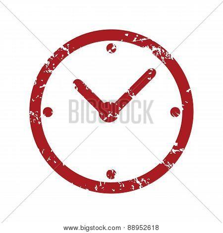 Red grunge clock logo