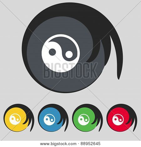 Ying Yang Icon Sign. Symbol On Five Colored Buttons. Vector