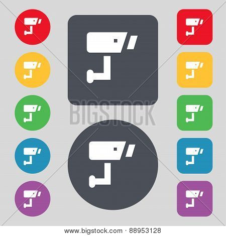 Surveillance Camera Icon Sign. A Set Of 12 Colored Buttons. Flat Design. Vector