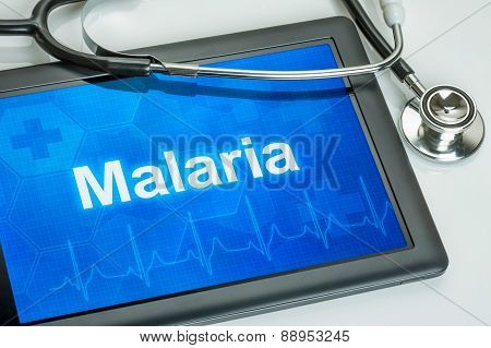 Tablet With The Diagnosis Malaria On The Display