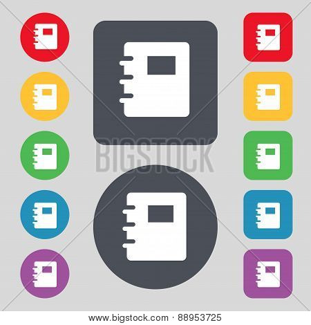 Book Icon Sign. A Set Of 12 Colored Buttons. Flat Design. Vector