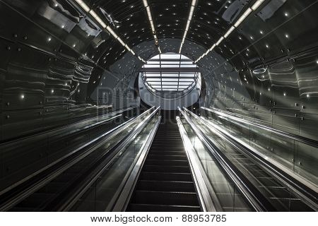Futuristic Stairs Of Warsaw Subway System