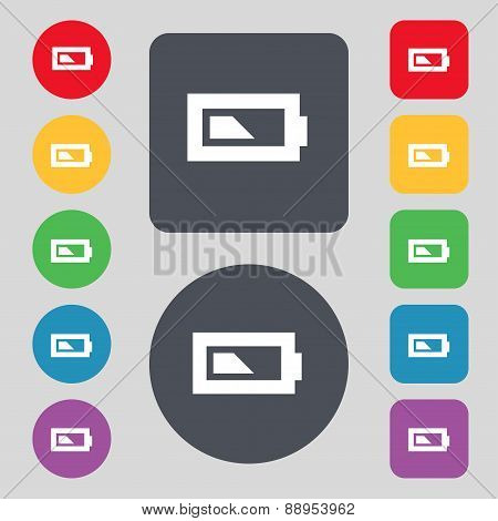 Battery Half Level Icon Sign. A Set Of 12 Colored Buttons. Flat Design. Vector
