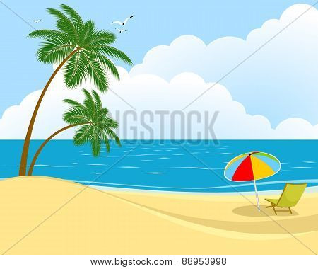 Beach, Sea And Sun Lounger