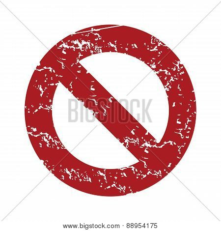 Red grunge sign ban logo