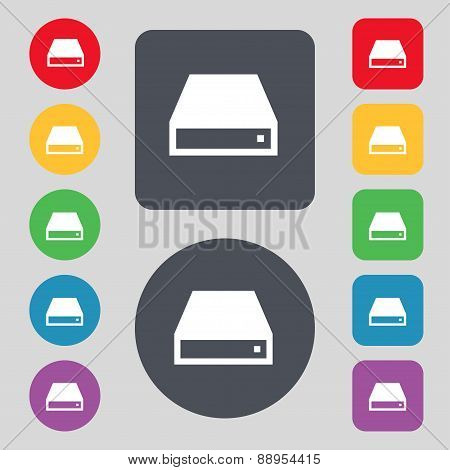Cd-rom Icon Sign. A Set Of 12 Colored Buttons. Flat Design. Vector