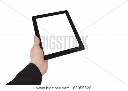 Man Hand Holding Black Touch Pad Isolated Over White