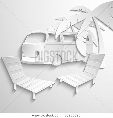 Hippie van travel beach adventure vacation flat 3d web isometric infographic concept vector. Minibus