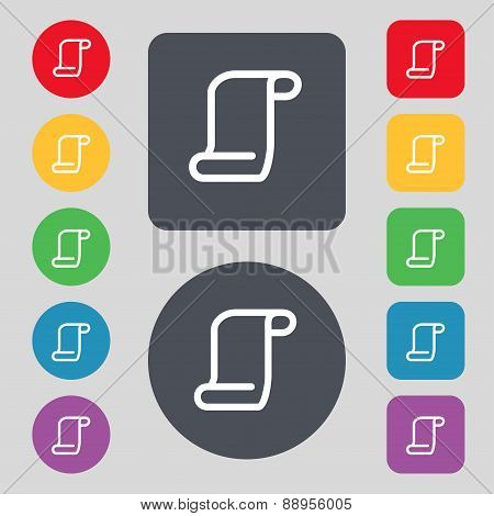 Paper Scroll Icon Sign. A Set Of 12 Colored Buttons. Flat Design. Vector