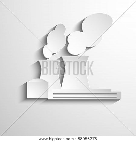 Ecology symbol with paper industrial objects, smoke and fire. On light background