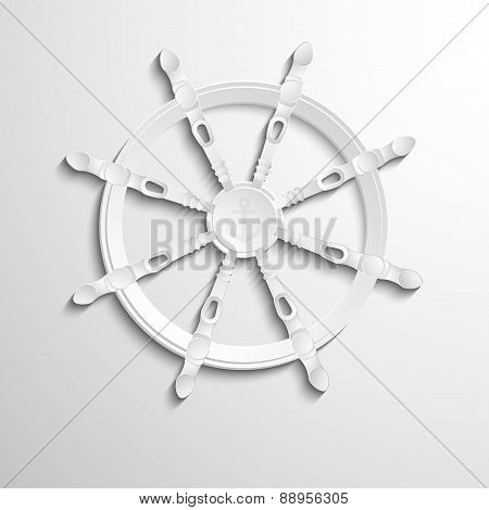 Sea steering wheel with anchor logo design.