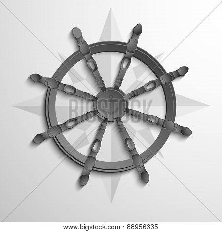 Yacht wheel symbol. Helm paper.