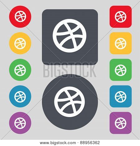 Basketball Icon Sign. A Set Of 12 Colored Buttons. Flat Design. Vector