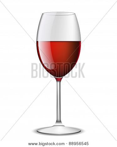 vector realistic red wine in glass isolated