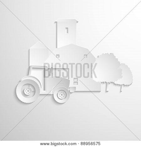 farm tractor cut paper design background