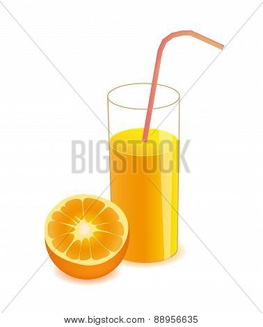vector half orange and orange juice on glass