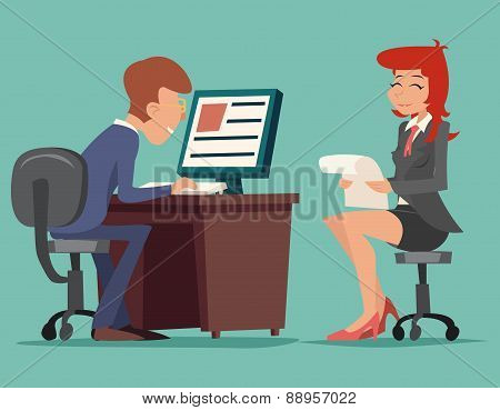 Job Interview Task Conversation Businessman at Desk Working on Computer Characters Icon Stylish Back