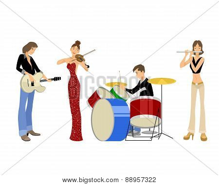 Four Teenagers Musicians