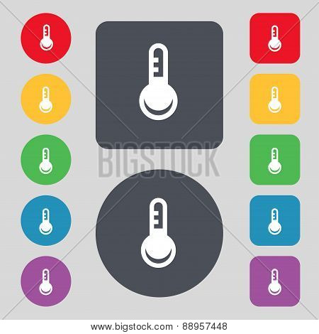Thermometer, Temperature Icon Sign. A Set Of 12 Colored Buttons. Flat Design. Vector