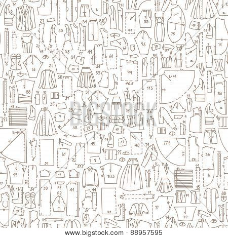 Seamless Hand Drawn Doodle Pattern With Clothes And Sewing Patterns.