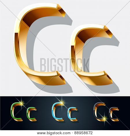 Vector set of elegant gold jewelry font. Letter C