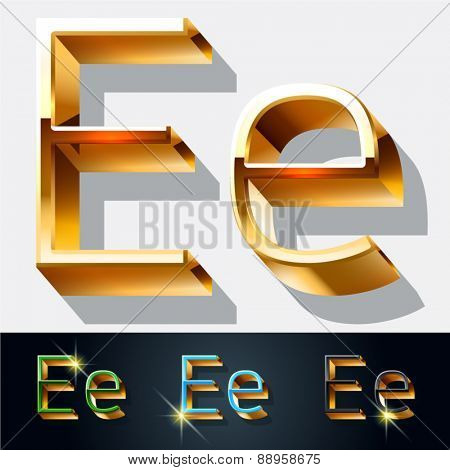 Vector set of elegant gold jewelry font. Letter E