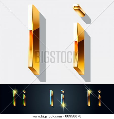 Vector set of elegant gold jewelry font. Letter I