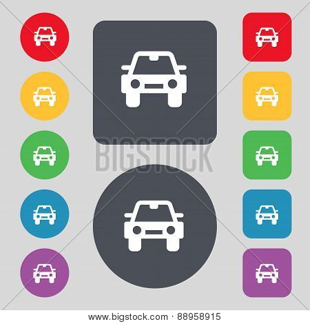 Auto Icon Sign. A Set Of 12 Colored Buttons. Flat Design. Vector