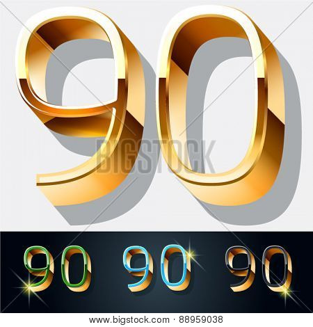 Vector set of elegant gold jewelry font. Numbers 9 0