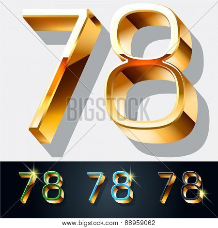 Vector set of elegant gold jewelry font. Numbers 7 8