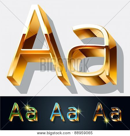 Vector set of elegant gold jewelry font. Letter A