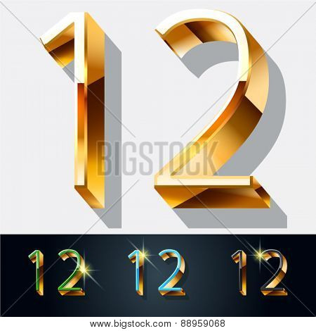 Vector set of elegant gold jewelry font. Numbers 1 2