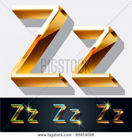 Vector set of elegant gold jewelry font. Letter Z
