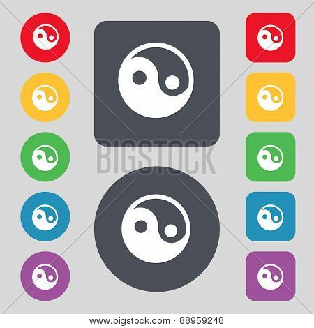 Ying Yang Icon Sign. A Set Of 12 Colored Buttons. Flat Design. Vector